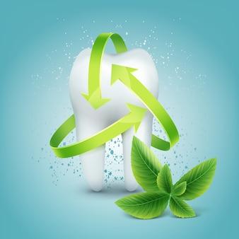 Vector groene pijlbescherming rond tand met pepermuntblad dat op blauwe achtergrond wordt geïsoleerd