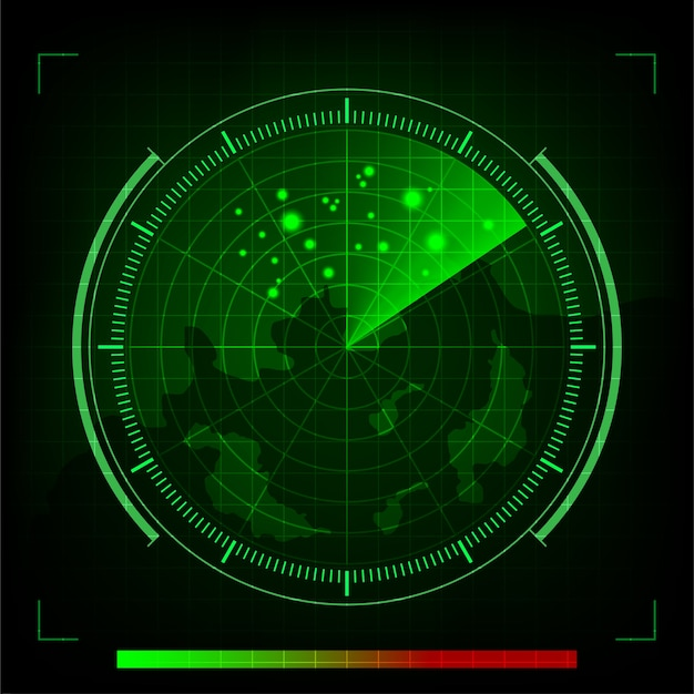 Vector groene radar in het zoeken op zwarte achtergrond