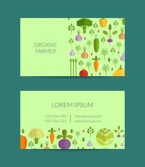 Vector groenten en fruit biologische boerderij, veganistisch, gezonde voeding visitekaartjesjabloon. illustratioin van postervegan