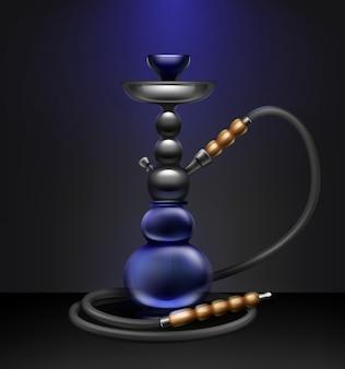 Vector grote nargile voor het roken van tabak gemaakt van metaal en blauw glas met lange waterpijp slang geïsoleerd op donkere achtergrond