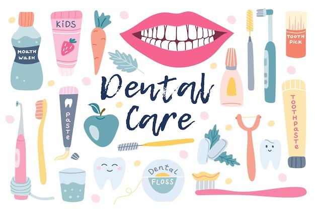 Vector grote set van tandheelkundige zorg mondhygiëne in een vlakke stijl op een witte achtergrond