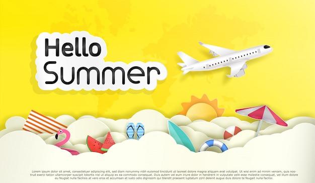 Vector hallo zomer en toerisme. en de lucht met veel wolken.