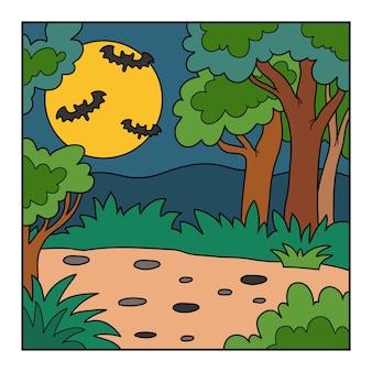 Vector halloween-achtergrond, kleurrijk landschap met nachtbos