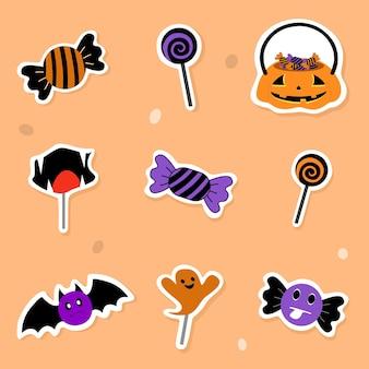 Vector halloween collectie candy lolly vleermuis mand pompoen op oranje achtergrond