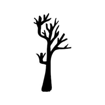Vector halloween droge boom clipart. grappige, leuke illustratie voor seizoensgebonden ontwerp, textiel, decoratie kinderspeelkamer of wenskaart. handgetekende prints en doodle.
