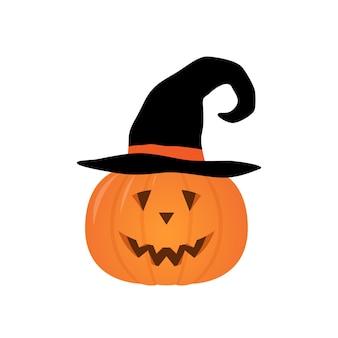 Vector halloween-pompoen in een heksenhoed