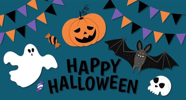 Vector halloween-samenstelling met tekst, spook, scull, heksenhoed, vleermuis, vlaggen op donkerblauwe achtergrond. grappig herfstvakantieontwerp voor banners, posters, uitnodigingen. kaartsjabloon met enge elementen