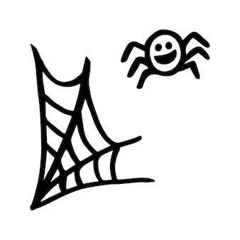 Vector halloween spinnenweb clipart. grappige, leuke illustratie voor seizoensgebonden ontwerp, textiel, decoratie kinderspeelkamer of wenskaart. handgetekende prints en doodle.