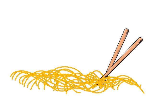Vector hand draw sketch, noodle en chopstick