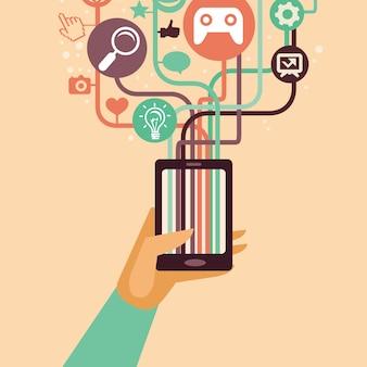 Vector hand en mobiele telefoon met internet