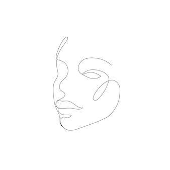 Vector hand getekend lineaire kunst vrouw gezicht doorlopende lijn mode concept vrouwelijke schoonheid