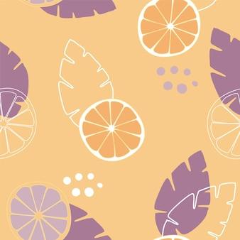Vector hand getekend oranje fruit naadloze patroon. frisse zomerillustratie in trendy kleuren. geweldig voor stof en behang.