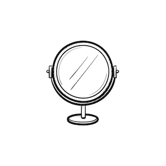 Vector hand getekend ronde make-up spiegel overzicht doodle pictogram. ronde make-up spiegel schets illustratie voor print, web, mobiel en infographics geïsoleerd op een witte achtergrond.