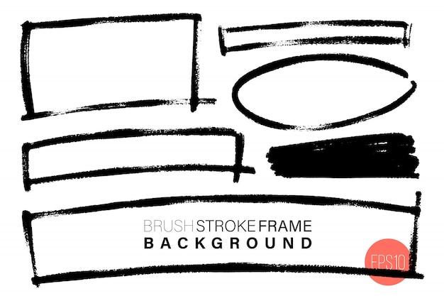 Vector hand getekend verschillende geometrische vorm frame ingesteld voor achtergronden.
