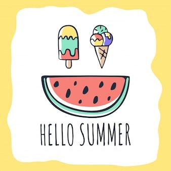 Vector hand getekend zomer kaart met belettering