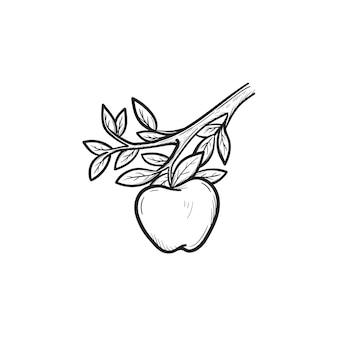 Vector hand getekende appel op tak overzicht doodle pictogram. apple schets illustratie voor print, web, mobiel en infographics geïsoleerd op een witte achtergrond.