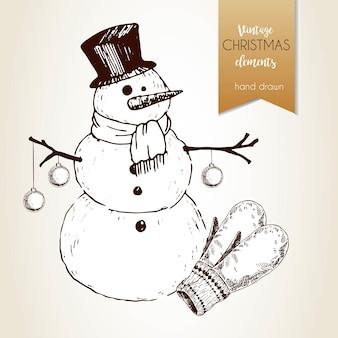 Vector hand getekende illustartion van sneeuwpop met spar ballen en handschoenen. vintage gegraveerde stijl. kerst decoratie.