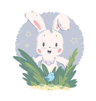 Vector hand getekende illustratie met schattige kleine baby konijn en kleine vogel in gras geïsoleerd op een witte achtergrond. goed voor mooie baby shower feestkaart, kinderkamer print, hb poster, tag, banner, sticker