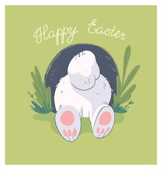 Vector hand getekende illustratie met schattige kleine baby konijn kont in gat geïsoleerd op de achtergrond. goed voor een vrolijke paaskaart, baby shower party print, verjaardagsposter, tag, banner, sticker etc.