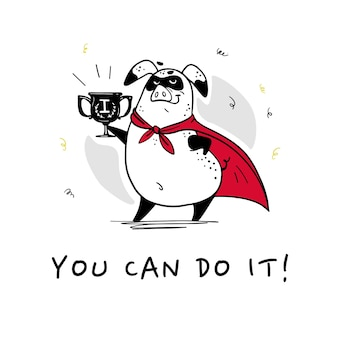 Vector hand getekende illustratie met tekst en grappig varken super held karakter in gele mantel geïsoleerd op een witte achtergrond. comic book stijl. goed voor printontwerp, kaarten, verpakkingen, banners, decor enz.