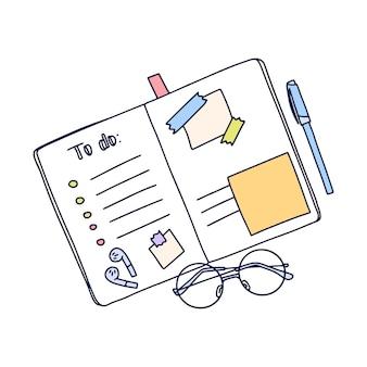 Vector hand getekende illustratie van notebook organisator met takenlijst in doodle stijl.