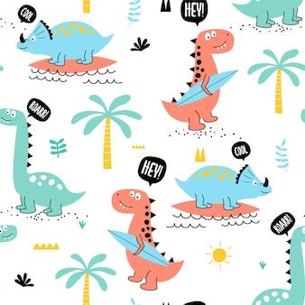 Vector hand getekende schattige dinosaurus naadloze patroon kinder illustratie print kaart ontwerp