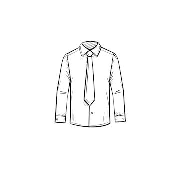 Vector hand getekende zakelijke shirt overzicht doodle pictogram. kleding schets illustratie voor print, web, mobiel en infographics geïsoleerd op een witte achtergrond.