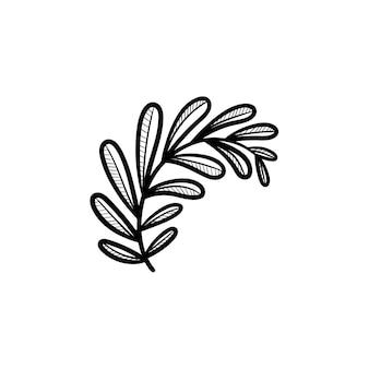 Vector hand getrokken bladeren op tak overzicht doodle pictogram. bladeren op tak schets illustratie voor print, web, mobiel en infographics geïsoleerd op een witte achtergrond.