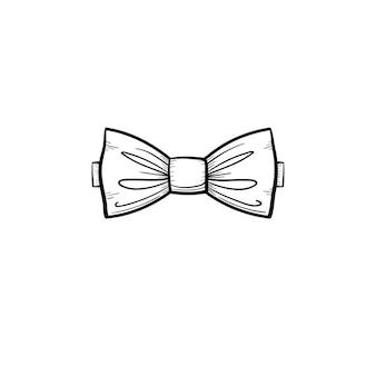 Vector hand getrokken bowtie overzicht doodle pictogram. vlinderdas schets illustratie voor print, web, mobiel en infographics geïsoleerd op een witte achtergrond.