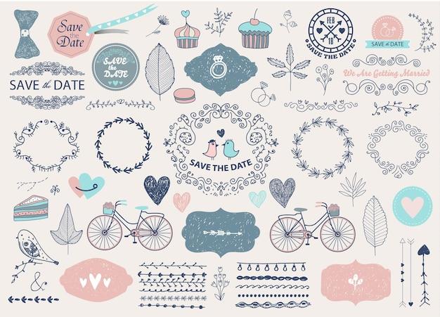 Vector hand getrokken doodle liefde collectie illustratie schetsmatige pictogrammen grote set voor valentijnsdag