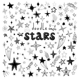 Vector hand getrokken doodle sterren set icon collectie