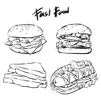 Vector hand getrokken fastfood set geïsoleerd