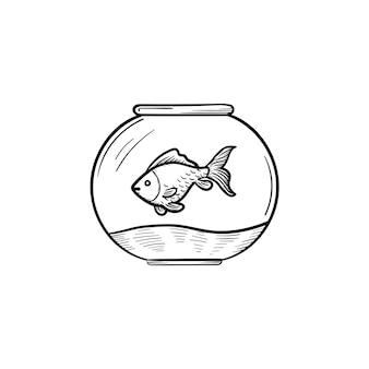 Vector hand getrokken fishbowl overzicht doodle pictogram. vissenkom schets illustratie voor print, web, mobiel en infographics geïsoleerd op een witte achtergrond.
