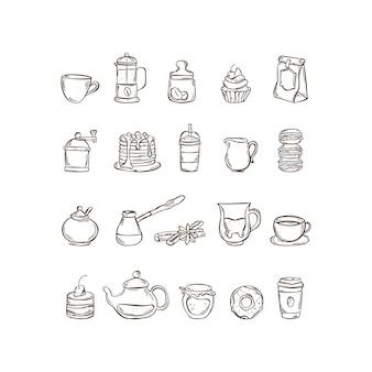 Vector hand getrokken icon set koffie en thee