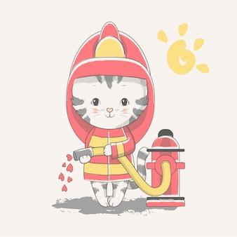 Vector hand getrokken illustratie van een schattige baby kitten brandweerman