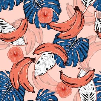 Vector hand getrokken naadloze patroon met tropische bananen