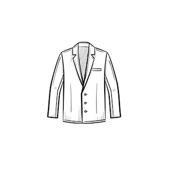 Vector hand getrokken pak jasje overzicht doodle pictogram. pak jas schets illustratie voor print, web, mobiel en infographics geïsoleerd op een witte achtergrond.