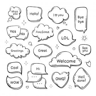 Vector hand getrokken set van tekstballonnen met woorden. doodle droomwolk. lijn illustratie.