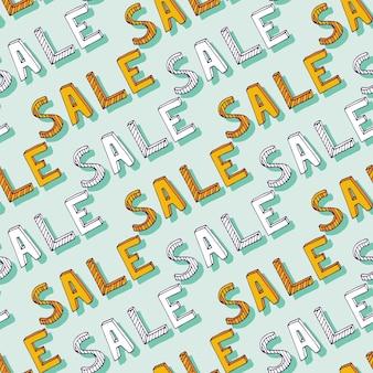 Vector hand getrokken verkoop patroon. doodle korting winkelen decoratie. vector naadloze textuur voor achtergrond, banners voor online winkel