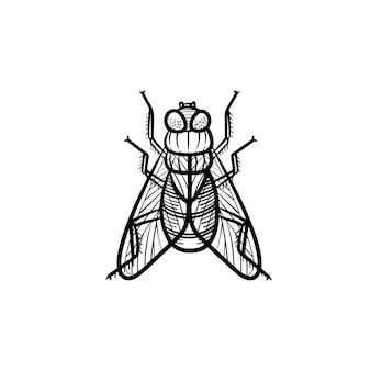 Vector hand getrokken vlieg overzicht doodle pictogram. vlieg schets illustratie voor print, web, mobiel en infographics geïsoleerd op een witte achtergrond.