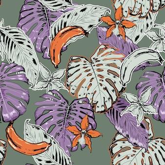 Vector hand schets zomer naadloze patroon tropische bladeren
