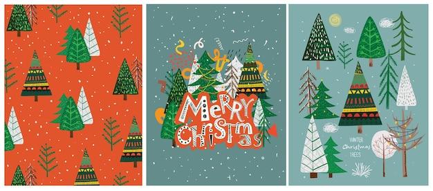 Vector hand tekenen trendy abstracte illustraties van kerstkaarten van prettige kerstdagen en gelukkig nieuwjaar 2022 met kerstboom, winter forest en belettering.