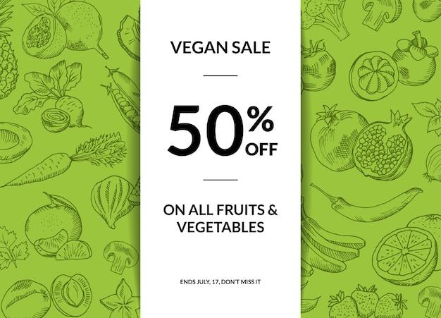 Vector handdrawn groenten en fruit veganistisch verkoop achtergrond met schaduwen illustratie