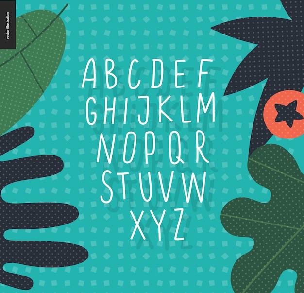 Vector handgeschreven latijnse alfabet in hoofdletters