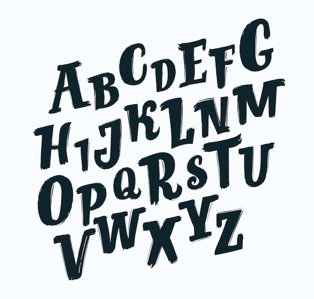 Vector handgeschreven penseel script. zwarte schuine letters op een witte achtergrond. slab lettertype schuin dynamisch lettertype.+