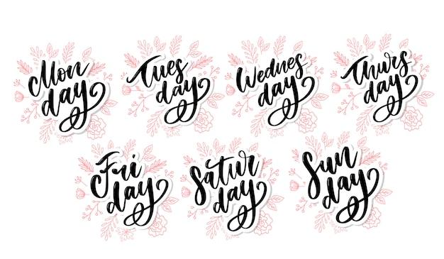 Vector handgeschreven weekdagen en symbolen ingesteld. geïnkt lettertype. stickers voor planner en andere.