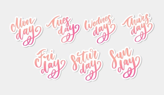 Vector handgeschreven weekdagen en symbolen ingesteld. inkt lettertype. stickers voor planner en andere. clip art. geïsoleerd.