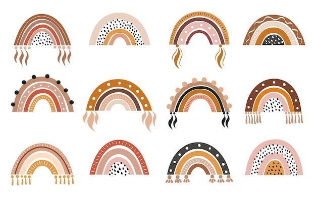 Vector handgetekende collectie voor kinderdagverblijfdecoratie met schattige regenbogen pastelkleur