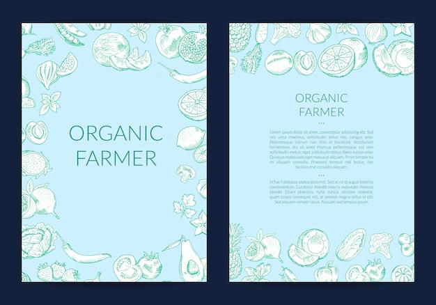 Vector handgetekende groenten en fruit flyer-sjabloon