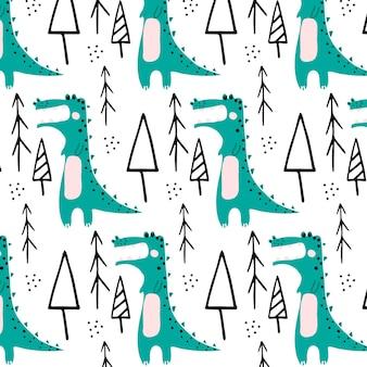 Vector handgetekende naadloze patroon met groene krokodilchildrens patroon met een krokodil en boom